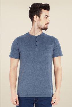 Park Avenue Grey Solid Henley Neck T Shirt