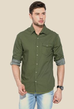 Mufti Green Printed Slim Fit Cotton Shirt
