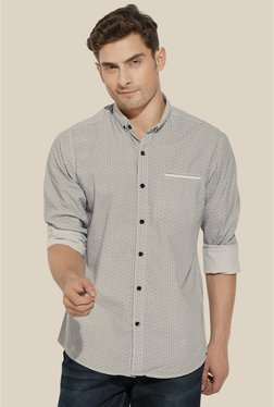Mufti Grey Printed Slim Fit Shirt