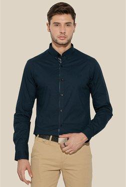 Mufti Navy Solid Shirt