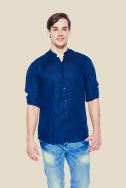 Mufti Navy Solid Full Sleeve Shirt