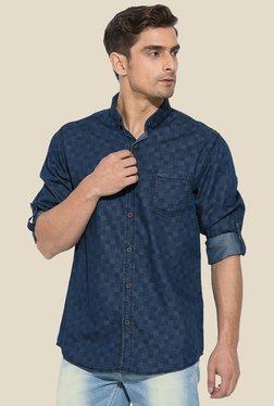 Mufti Blue Printed Button Down Collar Shirt