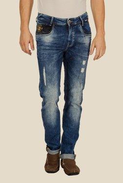 Mufti Blue Distressed Slim Fit Jeans - Mp000000000241592