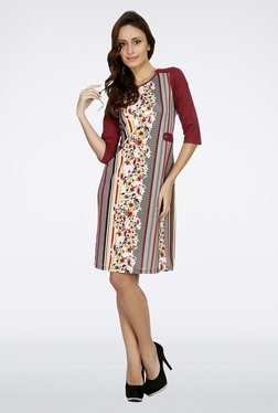 109 F Maroon Floral Printed Dress
