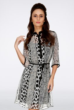 109 F Grey Printed Dress