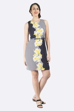 109 F Navy Floral Printed Dress
