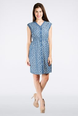 109 F Blue Printed Dress