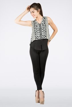 109 F Black Printed Layered Top