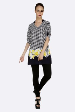 109 F Black & Yellow Printed Tunic