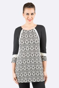 109 F Black & Off-White Printed Tunic