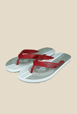 US Polo Assn. Classic Red & Grey Flip Flops