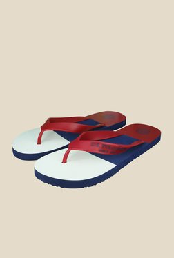 US Polo Assn. Block Red & White Flip Flops