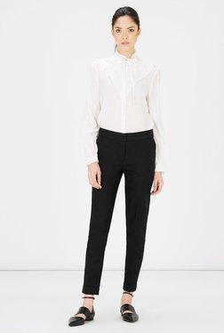 Warehouse Black Flat Front Trouser