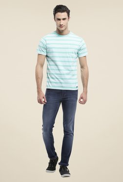 Parx Green Striped Crew Neck T Shirt
