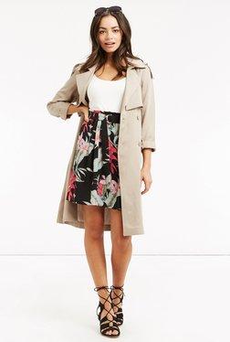 Oasis Black Floral Print Belted A Line Skirt