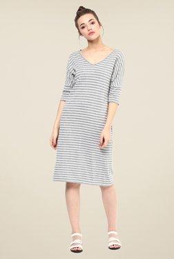 Femella Grey & White Striped Shift Dress