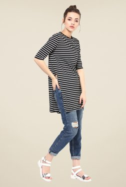 Femella Black Striped Side Slit Top