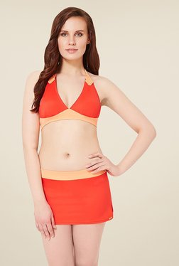 Amante Orange Padded Halter Bikini Top Swimwear