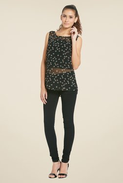 Globus Black Sleeveless Floral Printed Top