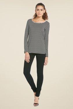 Globus Black Striped Full Sleeves Top