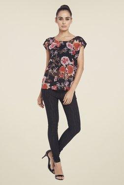 Globus Black & Coral Floral Print Top