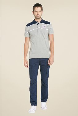 Globus Grey & Navy Solid Polo T Shirt