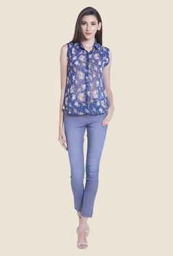 Globus Blue Floral Print Sheer Top