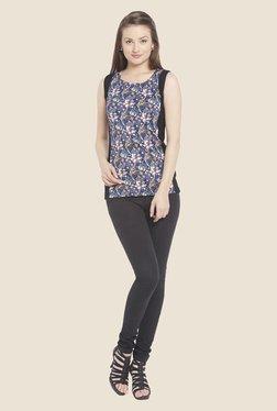 Globus Blue & Black Floral Print Sleeveless Top