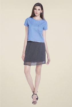 Globus Blue Solid Short Sleeve Top