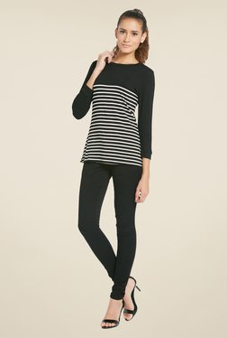 Globus Black Striped Round Neck Top - Mp000000000253482
