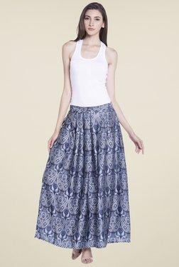 Globus Blue Printed Maxi Skirt