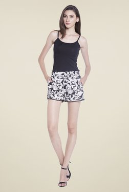 Globus Black & White Floral Printed Shorts