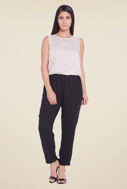 Globus White Polka Dot Printed Jumpsuit