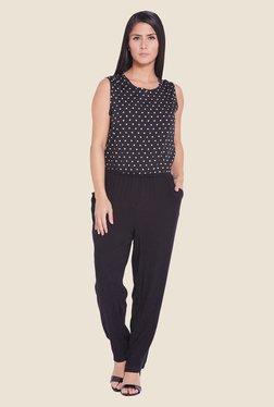 Globus Black Polka Dot Printed Jumpsuit