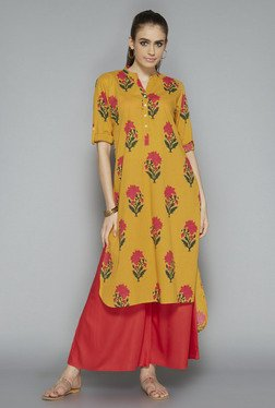 Utsa By Westside Mustard Floral Print Kurta