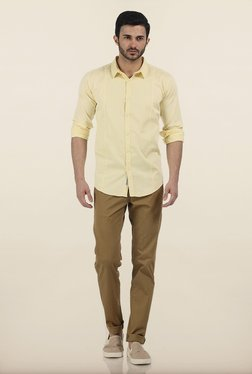 Basics Tapered Fit Khaki Irregular Matt Stretch Trouser