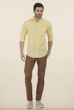 Basics Tapered Fit Brown Irregular Matt Stretch Trouser
