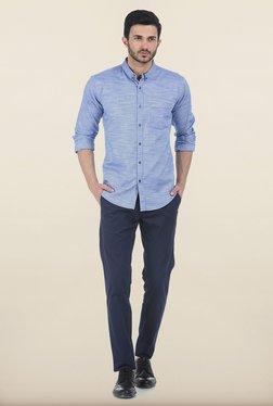 Basics Tapered Fit Navy Irregular Matt Stretch Trouser