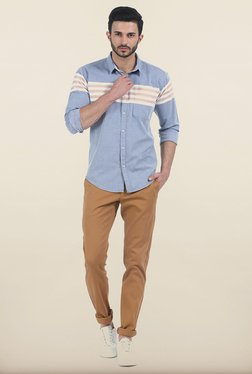 Basics Tapered Fit Khaki Stepped Twill Stretch Trouser