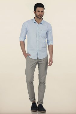 Basics Tapered Fit Vapour Grey Dobby Peached Stretch Trouser