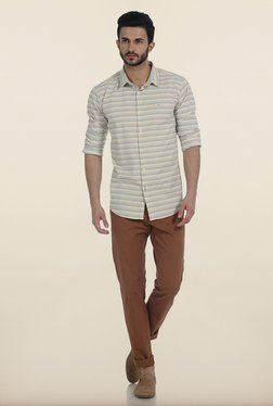 Basics Tapered Fit Brown Peached Twill Stretch Trouser - Mp000000000260174