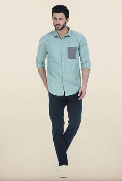 Basics Tapered Fit Carbon Navy Dobby Peached Stretch Trouser