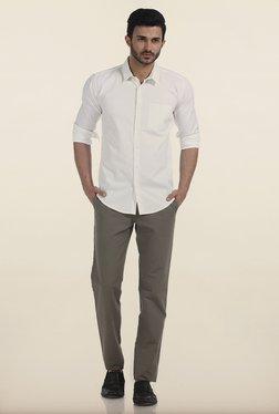 Basics Slim Fit Grey Matt Weave Cotton Trouser