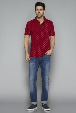 Westsport By Westside Red Printed Polo T Shirt