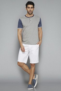 Westsport By Westside Grey Solid Henley T Shirt