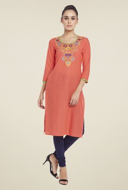 Globus Peach Embroidered Kurta