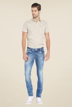 Globus Blue Acid Wash Skinny Fit Denim Jeans