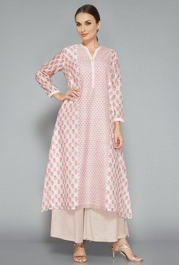 Zuba by Westside Light Pink Floral Print Kurta