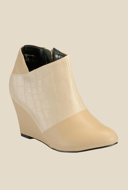 Yepme Beige Wedge Heeled Boots