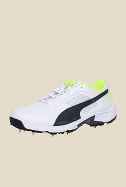 Puma Team Full Spike White & New Navy Cricket Shoes